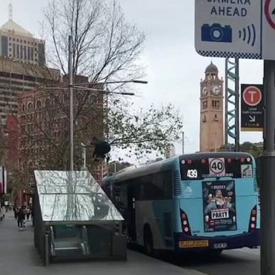 Sydney Skateboarder jumps bus TikTok stunt
